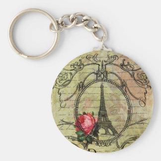 Paris Eiffel Tower & Red Rose Steampunk Key Chain