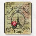 Paris Eiffel Tower & Red Rose Steampunk Mousepads