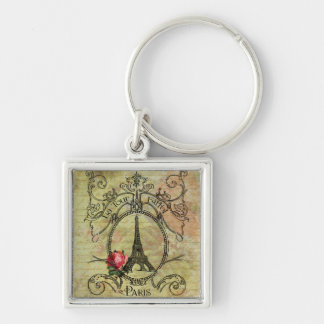 Paris Eiffel Tower & Red Rose Steampunk Silver-Colored Square Keychain