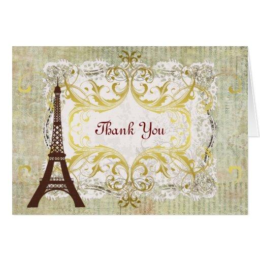 Paris Eiffel Tower Romantic Vintage Thank You Cards