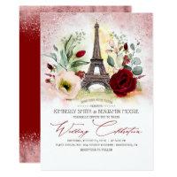Paris Eiffel Tower Rose Gold and Burgundy Wedding Invitation