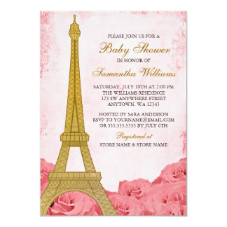 Paris Eiffel Tower Roses Pink Gold Baby Shower Card