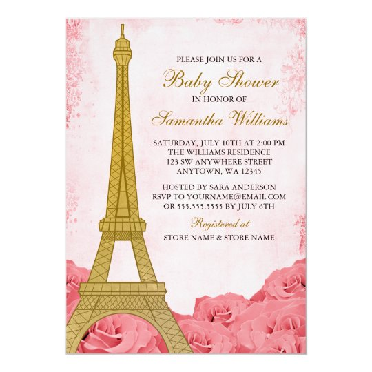 Paris eiffel tower roses pink gold baby shower invitation zazzle paris eiffel tower roses pink gold baby shower invitation filmwisefo