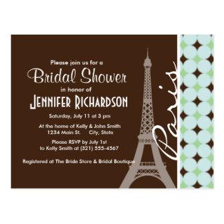 Paris; Eiffel Tower; Sage Green & Brown Postcard