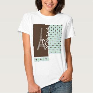 Paris; Eiffel Tower; Sage Green & Brown T Shirt