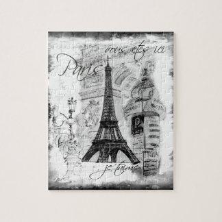 Paris Eiffel Tower Scene Collage Black & White Jigsaw Puzzle