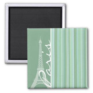 Paris; Eiffel Tower; Seafoam, Sage Green Magnet
