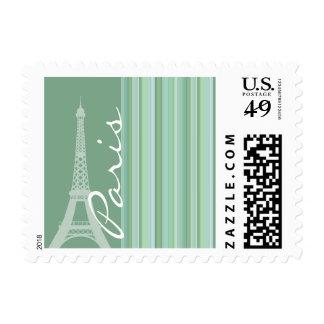 Paris; Eiffel Tower; Seafoam, Sage Green Postage Stamp