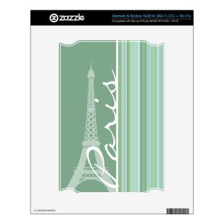 Paris; Eiffel Tower; Seafoam, Sage Green Decals For NOOK