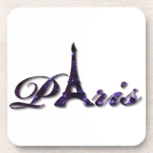 Paris Eiffel Tower Sequin Glitter Sparkle Beverage Coasters