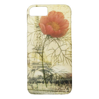 Paris eiffel tower shabby chic poppy flower iPhone 8/7 case