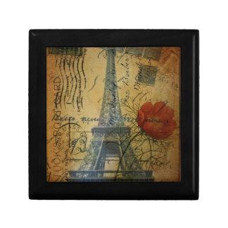 Paris Eiffel Tower shabby chic poppy flower Jewelry Box