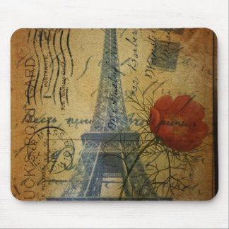 Paris eiffel tower shabby chic poppy flower mouse pad