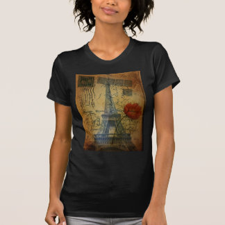 Paris eiffel tower shabby chic poppy flower T-Shirt