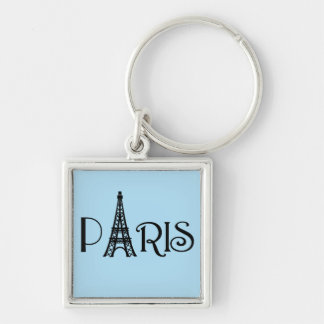 Paris Eiffel Tower Silver-Colored Square Keychain
