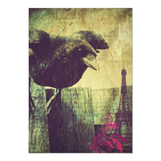 Paris Eiffel tower spooky halloween raven Crow Card