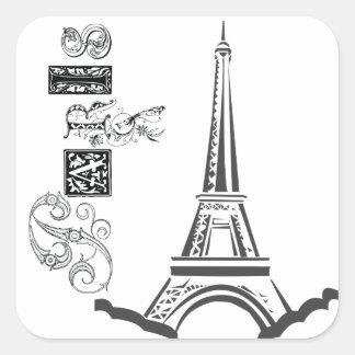 Paris Eiffel Tower Square Sticker