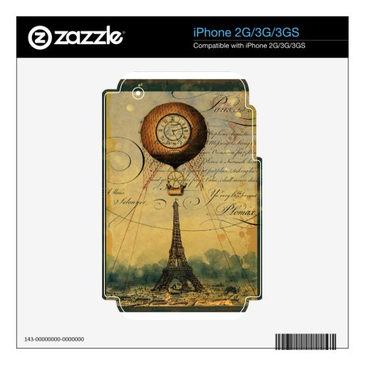 Paris Eiffel Tower Steampunk Hot Air Balloon iPhone 3 Skin