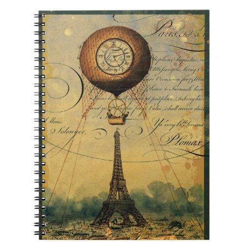 Paris Eiffel Tower Steampunk Hot Air Balloon Spiral Notebooks