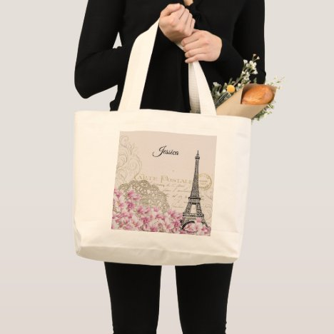 Paris Eiffel Tower Stylish Trendy Travel Monogram Large Tote Bag
