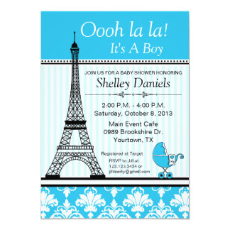 Paris Eiffel Tower Theme Baby Shower Blue 5x7 Paper Invitation Card