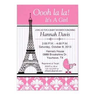 Paris Eiffel Tower Theme Baby Shower Pink 5x7 Paper Invitation Card