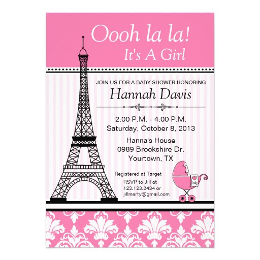 paris themed baby shower invitation paris invitations