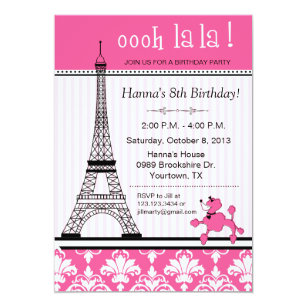 Paris birthday invitations announcements zazzle paris eiffel tower theme birthday party pink invitation filmwisefo