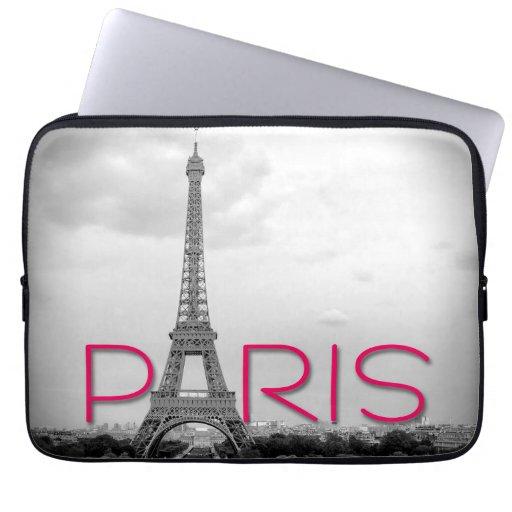 Paris & Eiffel Tower Typography Laptop Sleeve