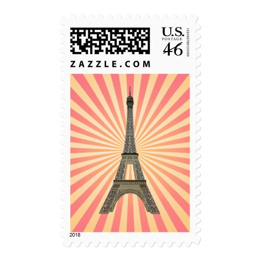Paris: Eiffel Tower: Vector Drawing: Postage