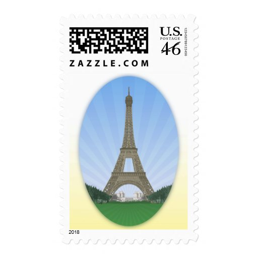 Paris: Eiffel Tower: Vector Drawing: Postage Stamps