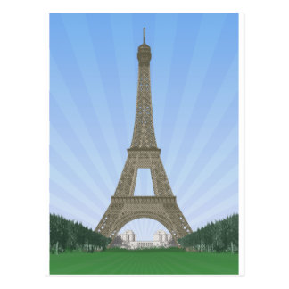Paris: Eiffel Tower: Vector Drawing: Post Card
