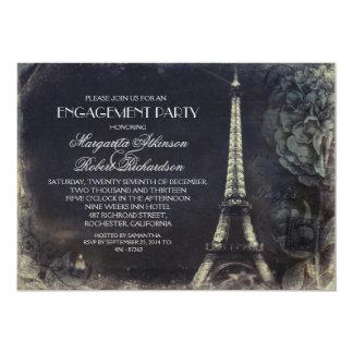 Paris Eiffel tower vintage engagement party 5x7 Paper Invitation Card