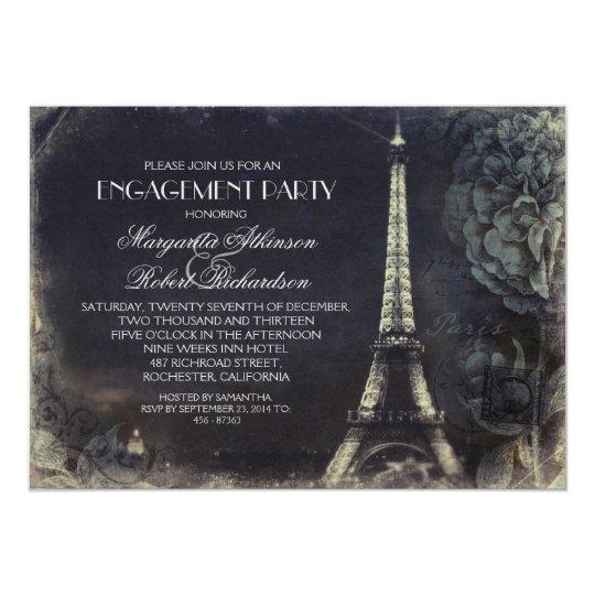 Paris Eiffel Tower Vintage Engagement Party Invitation
