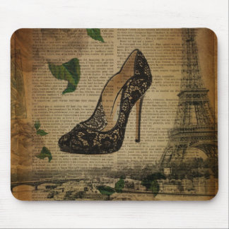 Paris eiffel tower vintage girly shoes mouse pad