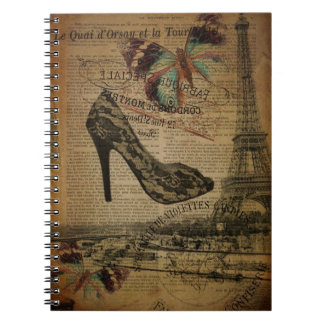 Paris eiffel tower vintage girly shoes notebook