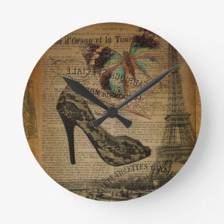 Paris eiffel tower vintage girly shoes round clock