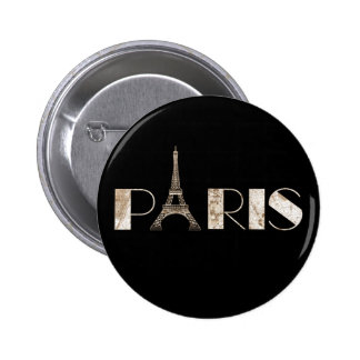 Paris Eiffel Tower Vintage Map Word Art Pinback Button