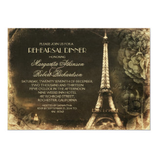 Paris Eiffel tower vintage rehearsal dinner Personalized Invite