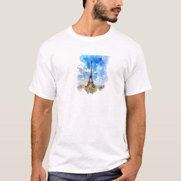 Professional Business Paris, Eiffel tower, Watercolor, Elegant T-Shirt