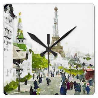 Paris Eiffel Tower Watercolor Painting Square Wall Clock