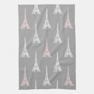 Paris Eiffel Tower White Pink Gray Kitchen Towel