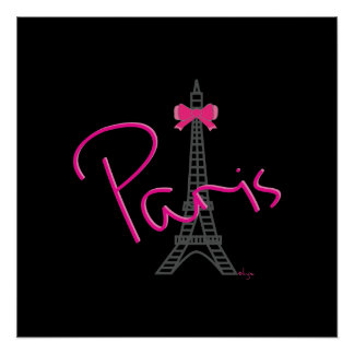 Paris, Eiffel Tower with bow Modern Poster