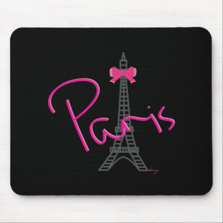 Paris, Eiffel Tower with Bow Trendy black Mouse Pad
