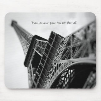 Paris Eiffel Tower With French Romantic Quote Mouse Pad