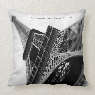 Paris Eiffel Tower With French Romantic Quote Throw Pillow
