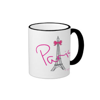 Paris Eiffel Tower with pink bow Ringer Mug
