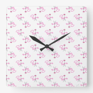 PARIS, Eiffel Tower with pink Bow Square Wall Clock