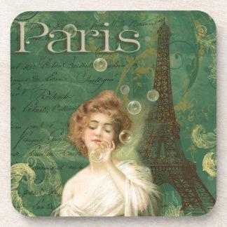 Paris Eiffel Tower Young Woman Bubbles Drink Coaster