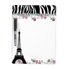 Paris Eiffel Tower Zebra White Board Pink Roses at Zazzle